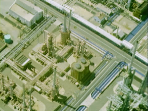 MS Aerial view of large oil refinery industrial complex / California, United States