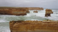 Aerial view of Limestone formations east of Loch Ard Gorge, 12 Apostles, Great Ocean Road, Victoria