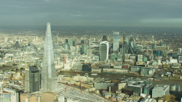 Aerial view of London's financial and business sector