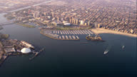 aerial view of Long Beach downtown, marina and ocean liner Queen Mary, RED R3D 4K, 4K, 4KMSTR