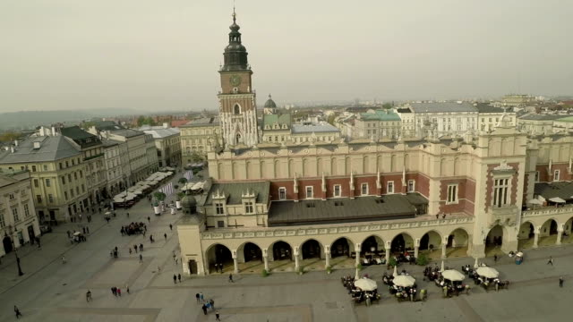 Aerial View of Market Square and The Cloth Hall, Krakow Poland