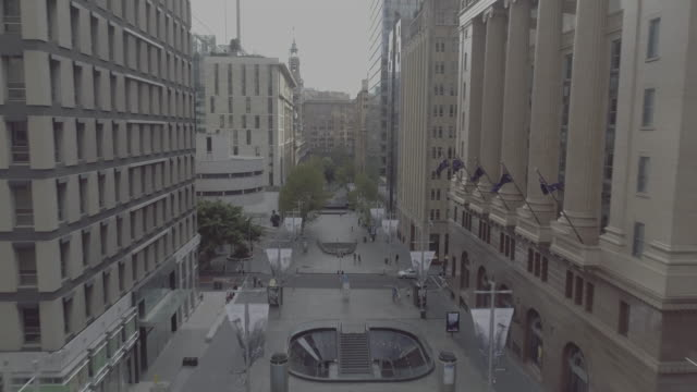 Aerial view of Martin Place heading West. Sydney Australia