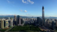 Aerial view of modern buildings and urban cityscape of shenzhen,real time.