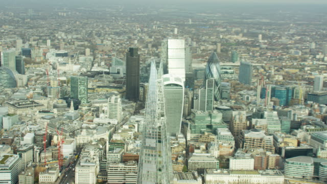 Aerial view of modern skyscraper buildings in London