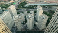 T/L WS HA ZO Aerial view of Modern Skyscrapers / Beijing, China