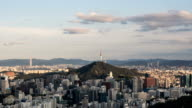 Aerial view of N Seoul Tower (landmark in Seoul) and area around the tower at sunset