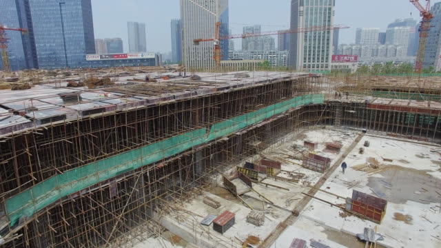 aerial view of new construction site in hangzhou. 4k
