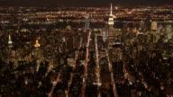 Aerial view of new york city midtown manhattan skyline at night