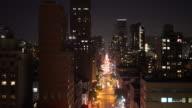 aerial view of new york city skyline buildings at night sky