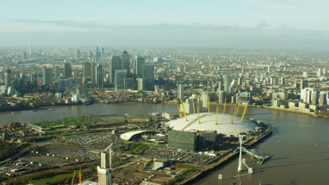 Aerial view of O2 Arena and River Thames