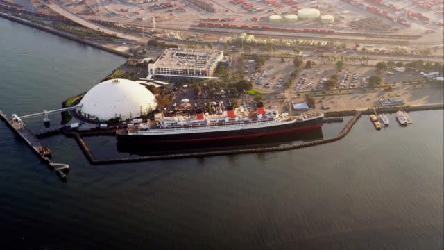 aerial view of ocean liner Queen Mary, RED R3D 4K, 4K, 4KMSTR
