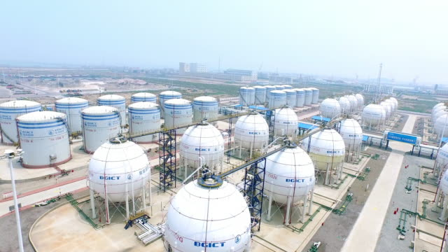 aerial view of oil and fuel tanks,shoot by drone,4k