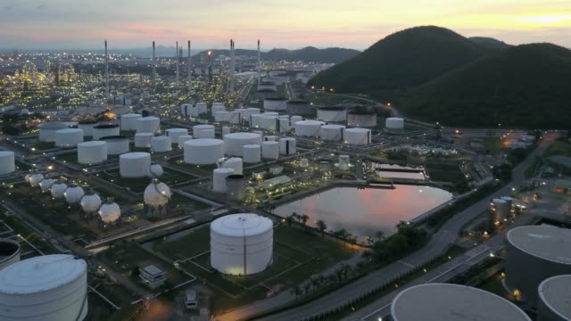 Aerial view of Oil refinery factory in Thailand