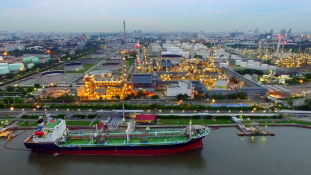 Aerial View of Oil Refinery in the twilight
