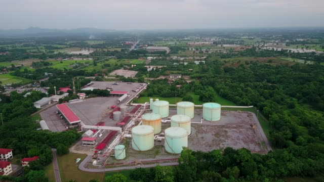 Aerial view of oil refinery plant form industry zone