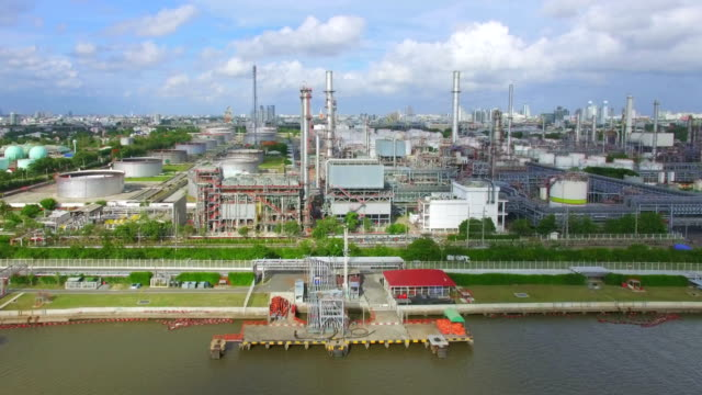 Aerial View of Oil Refinery