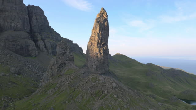 Aerial view of Old Man of Storr Scotland
