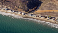 HA aerial view of Pacific Coast Highway and beach houses in Malibu, RED R3D 4K, 4K, 4KMSTR
