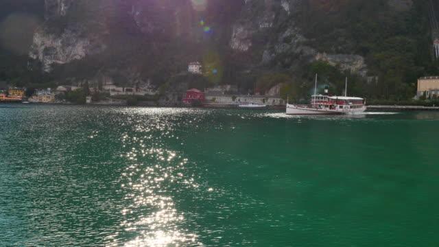 Aerial view of Paddle Steamer on Lake Garda