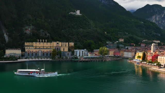 Aerial view of Paddle Steamer Riva Lake Garda