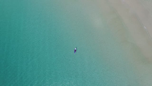 Aerial view of paddleboarder in tropical water
