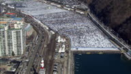 Aerial view of people and traffic jam at Hwacheon Sancehoneo Ice Festival