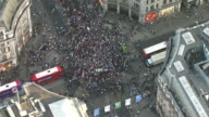 Aerial view of people protesting in central London after the Grenfell Tower fire