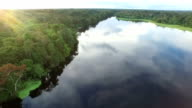 Aerial View of Peruvian Amazon and Jungle and inland lake