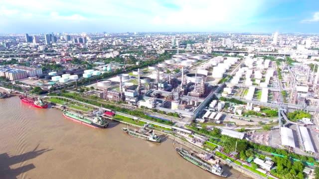 Aerial View of Petrochemical Plant near River, Bangkok, Thailand.