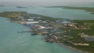 Aerial view of power plant on Parham Peninsula on the island of Antigua in the Caribbean.