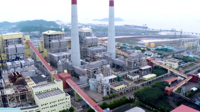 Aerial view of Power station generating electricity at daytime