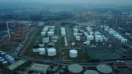 aerial view of refinery plant complex