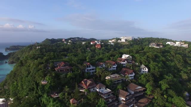 Aerial view of resorts on Diniwid beach, Boracay Island.