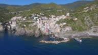 Aerial view of Riomaggiore Village at Cinque Terre Coast