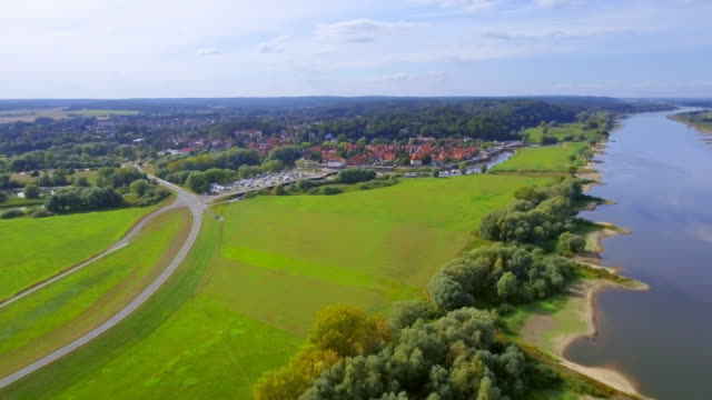 Aerial View of River Elbe and town Hitzacker in Lower Saxony, Germany