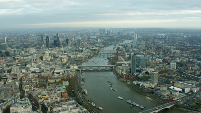Aerial view of River Thames and Tower Bridge