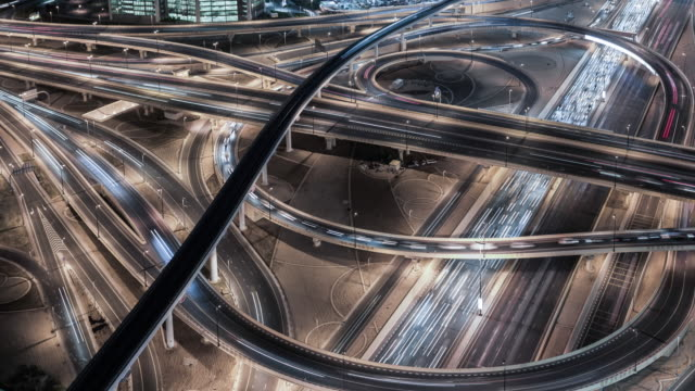 aerial view of road junction in downtown Dubai