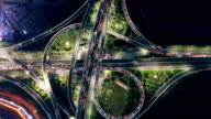 aerial view of road junction in modern city at night