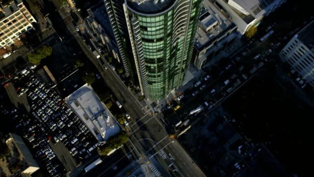 Aerial view of rooftop Skyscrapers Oakland Bay Bridge