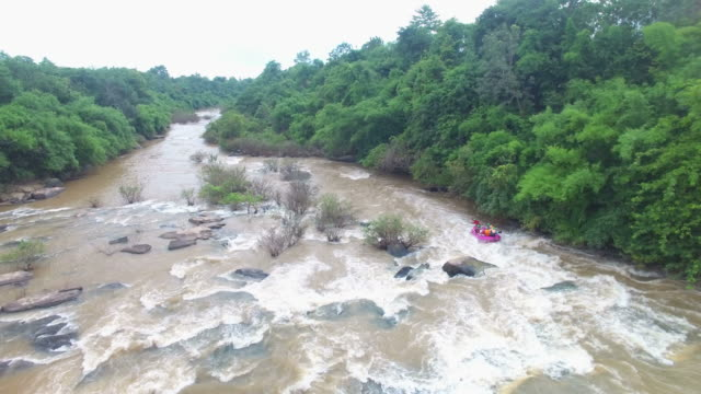 Aerial view of Rubber Boat Rafting at the Kek River, Phitsanulok,Thailand