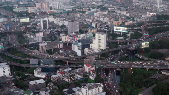 Aerial view of rush hour traffic on busy expressway
