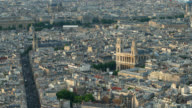 T/L PAN Aerial view of Saint Sulpice Church and neighborhood in Paris, France