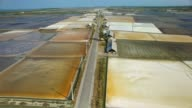 Aerial view of salt farming Naklua in the coastal, Thailand
