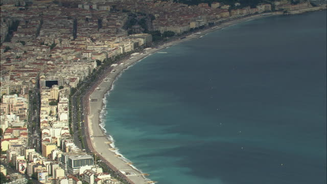 WS Aerial view of Seafront at Nice, Provence, France