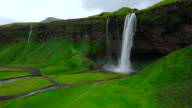 Aerial view of Seljalandfoss Waterfall in Iceland