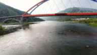 Aerial view of Seomjin river and Namdo Bridge that connects between Hadonggun and Guryegun (Gyeongsangnam-do and Jeollanam-do province)