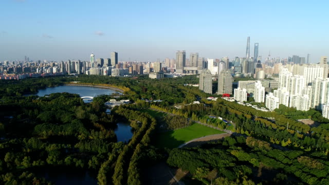 aerial view of Shanghai Century Park and apartment buildings in sunny day