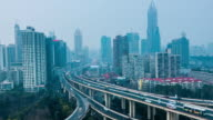 Aerial View of Shanghai Highway Day to Night