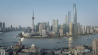 WS Aerial View of Shanghai Lujiazui Skyline with Huangpu River, Pearl Tower, Jin Mao, World Financial Center, The Bund