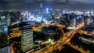 WS HA PAN Aerial View of Shanghai Skyline at Night / Shanghai, China